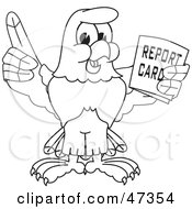 Royalty Free RF Clipart Illustration Of A Bald Eagle Hawk Or Falcon Holding A Report Card Outline