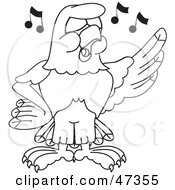 Royalty Free RF Clipart Illustration Of A Bald Eagle Hawk Or Falcon Singing Outline