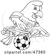 Royalty Free RF Clipart Illustration Of A Bald Eagle Hawk Or Falcon Playing Soccer Outline