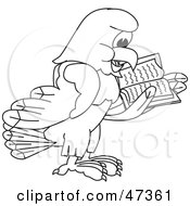 Royalty Free RF Clipart Illustration Of A Bald Eagle Hawk Or Falcon Reading Outline