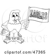Royalty Free RF Clipart Illustration Of A Bald Eagle Hawk Or Falcon Waving An Eagles Flag Outline
