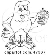 Royalty Free RF Clipart Illustration Of A Bald Eagle Hawk Or Falcon Holding A Cell Phone Outline