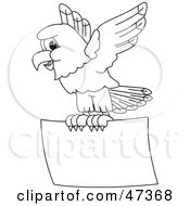 Royalty Free RF Clipart Illustration Of A Bald Eagle Hawk Or Falcon With A Promo Sign Outline