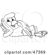 Royalty Free RF Clipart Illustration Of A Bald Eagle Hawk Or Falcon Reclining Outline