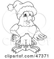Royalty Free RF Clipart Illustration Of A Bald Eagle Hawk Or Falcon Wearing A Santa Hat Outline