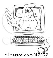 Royalty Free RF Clipart Illustration Of A Bald Eagle Hawk Or Falcon On A Computer Screen Outline