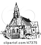 Royalty Free RF Clipart Illustration Of A Black And White Sketch Of A Steepled Church by Prawny