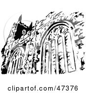 Royalty Free RF Clipart Illustration Of A Black And White Church Facade by Prawny
