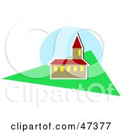 Royalty Free RF Clipart Illustration Of A Church With A Bell Tower And A Lawn