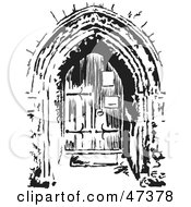 Royalty Free RF Clipart Illustration Of A Black And White Sketched Church Doorway by Prawny