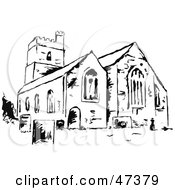 Royalty Free RF Clipart Illustration Of A Black And White Sketch Of A Church by Prawny
