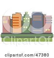 Royalty Free RF Clipart Illustration Of A Skyline Of City Skyscrapers