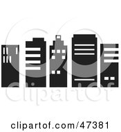 Royalty Free RF Clipart Illustration Of A Row Of Black And White Skyscrapers by Prawny
