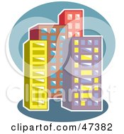 Royalty Free RF Clipart Illustration Of An Urban Block Of Skyscrapers by Prawny