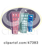 Royalty Free RF Clipart Illustration Of Three Tall City Buildings Against A Night Sky