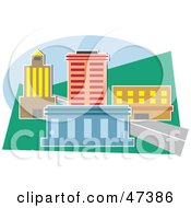 Royalty Free RF Clipart Illustration Of A City Block With Urban Buildings by Prawny
