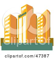 Royalty Free RF Clipart Illustration Of Tall Orange Skyscraper Buildings