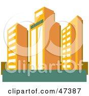 Royalty Free RF Clipart Illustration Of Tall Orange Skyscraper Buildings