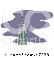 Royalty Free RF Clipart Illustration Of The Tip Of The Chrysler Building Over Purple