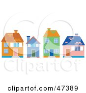 Royalty Free RF Clipart Illustration Of A Row Of Two And Single Story Homes On A Street