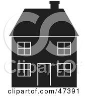 Royalty Free RF Clipart Illustration Of A Black And White Silhouetted Home