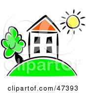 Royalty Free RF Clipart Illustration Of A Drawing Of A House On A Hill Under The Sun by Prawny