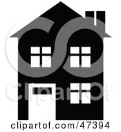 Royalty Free RF Clipart Illustration Of A Black Silhouetted Home With White Windows