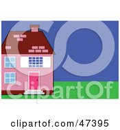 Royalty Free RF Clipart Illustration Of A Pink Home With A Green Lawn