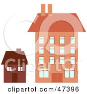 Royalty Free RF Clipart Illustration Of Big And Little Houses
