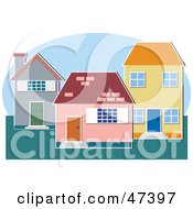 Royalty Free RF Clipart Illustration Of Three Different Homes On A Lot