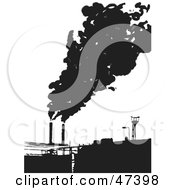 Royalty Free RF Clipart Illustration Of A Factory Emitting Smoke Into The Air