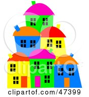 Royalty Free RF Clipart Illustration Of A Hillside Village Of Colorful Homes by Prawny