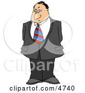 Businessman With A Disbelief Facial Expression And A Raised Eyebrow Clipart