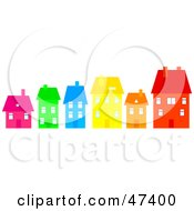 Royalty Free RF Clipart Illustration Of A Row Of Colorful Homes On A Street