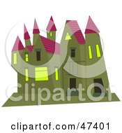 Royalty Free RF Clipart Illustration Of A Green Mansion With A Purple Roof by Prawny