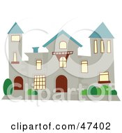 Royalty Free RF Clipart Illustration Of A Stone Mansion With A Blue Roof by Prawny