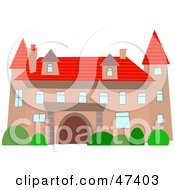 Royalty Free RF Clipart Illustration Of A Fancy Pink Mansion With A Red Roof by Prawny