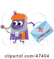Purple Cartoon House Character Doctor