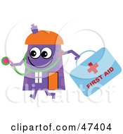 Royalty Free RF Clipart Illustration Of A Purple Cartoon House Character Doctor