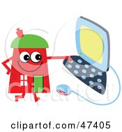 Red Cartoon House Character Using A Computer