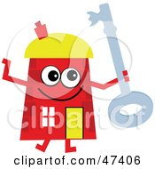 Red Cartoon House Character Holding A Key