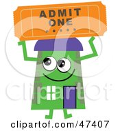 Green Cartoon House Character With A Ticket