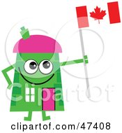 Green Cartoon House Character Holding A Canadian Flag