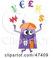 Purple Cartoon House Character Juggling Currencies