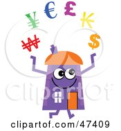 Royalty Free RF Clipart Illustration Of A Purple Cartoon House Character Juggling Currencies