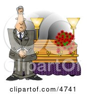 Male Funeral Director Standing Beside A Casket Clipart