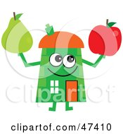 Royalty Free RF Clipart Illustration Of A Green Cartoon House Character With An Apple And Pear by Prawny