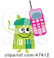 Green Cartoon House Character Using A Cell Phone
