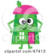 Confused Green Cartoon House Character
