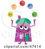 Purple Cartoon House Character Juggling Lottery Balls